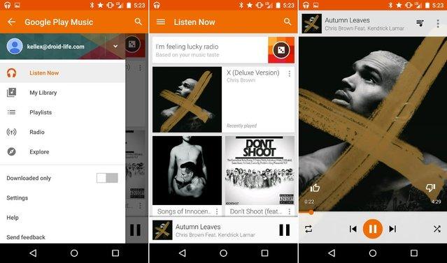 Google Play Music, materyal tasarımında nasıl gözüküyor?