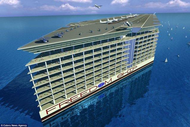 İçinde okul, hastane ve havaalanı olan 50 bin kişilik gemi