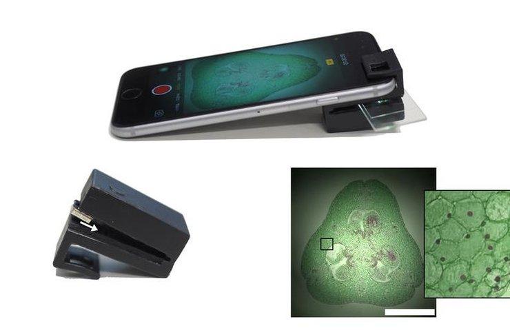 Cep telefonunu mikroskoba dönüştüren optik eklenti