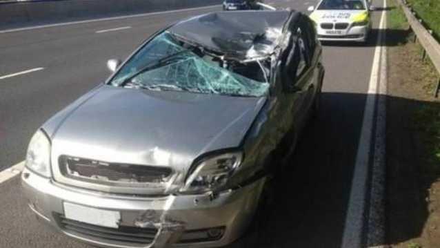 Ağır hasarlı otomobille 145 Km/s hızla yol yaptı