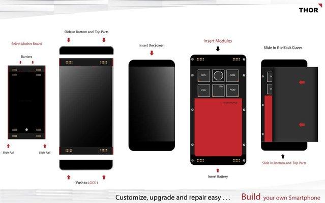 Tamamen özelleştirilebilir modüler telefon: Thor