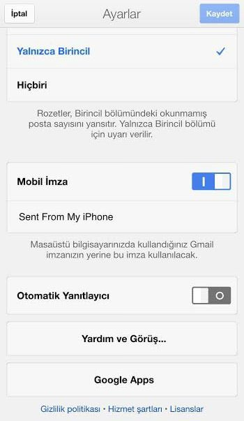 Gmail uygulamasında otomatik e-posta nasıl etkinleştirilir?