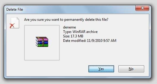 Sildiğiniz dosyaları kurtarabilirsiniz